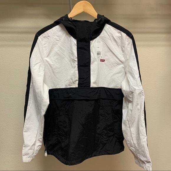 Levi's Mens Black White Hooded Windbreaker Size M